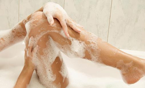 Women washing her legs