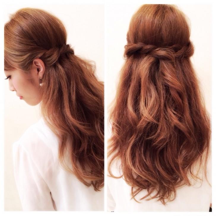 結婚式お呼ばれの髪型(ヘアスタイル)ロングヘアの簡単ハーフアップ集
