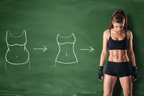 Concept of how a girl's body changing - from fat belly to perfect waist and abs on the background of a chalkboard. Self-improvement and sport. Athletic body. Workout and fitness.