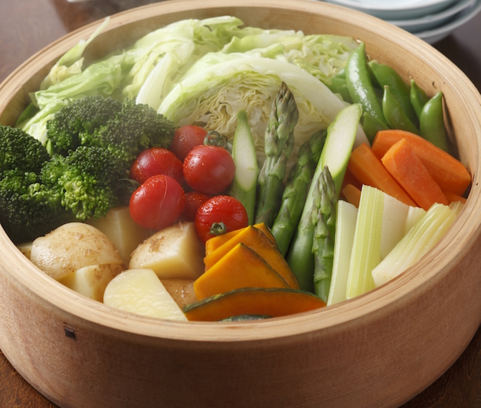 Variety of Japanese style steamed vegetables